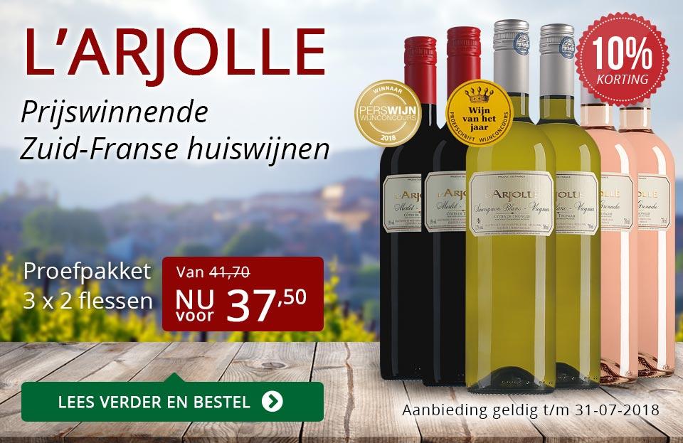 L'Arjolle prijswinnende huiswijnen juli 2018 - rood