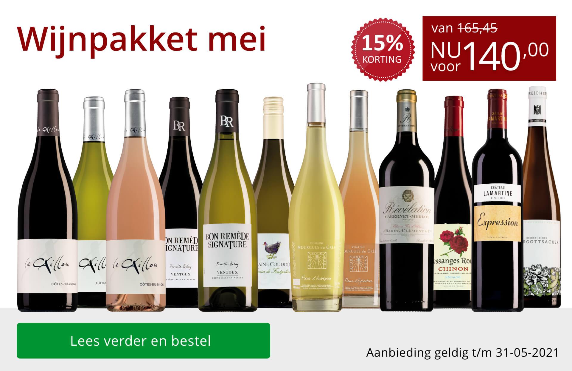 Wijnpakket wijnbericht mei 2021 (140,00) - rood